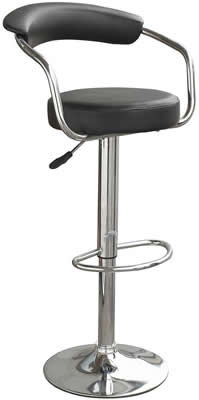 Drenzy kitchen bar stool with arms and backrest black padded
