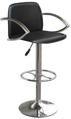 Nerckile bar stool with arms - black seat height adjustable