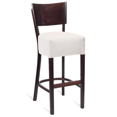 Rebaa Upholstered Padded High Stool with Backrest
