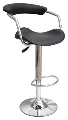 Swerly black padded kitchen breakfast bar stool height adjustable