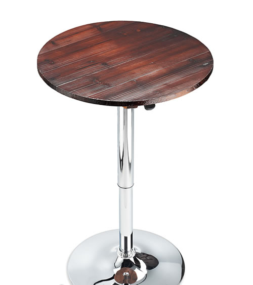 Franc Table Height Adjustable Rustic Wood Top Kitchen Poseur Bar Table