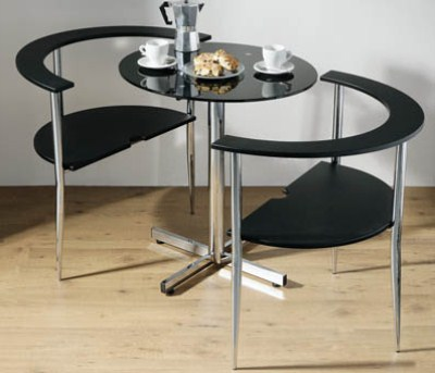 Love Glass Round Dining Kitchen Table And 2 Chairs Space Saver