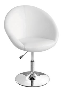 White oval adjustable dining kitchen chair