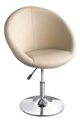 Cream oval height adjustable kitchen dining chair