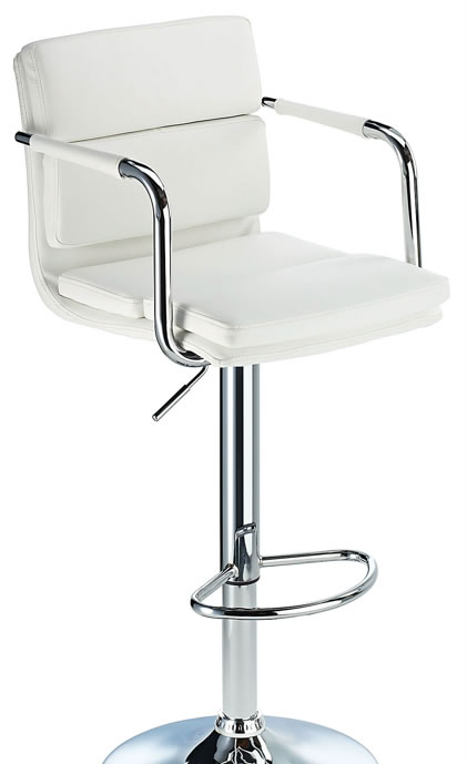Primosy white kitchen breakfast bar stool with arms and back