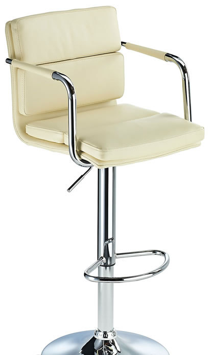 Primosy cream kitchen breakfast bar stool with arms and back