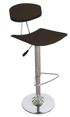 Saponi real leather brown deluxe kitchen breakfast bar stool with padded back and seat