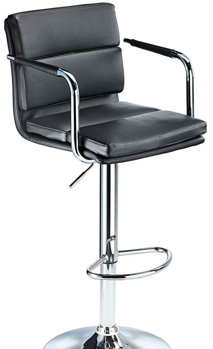 Primosy black kitchen breakfast bar stool with arms and back