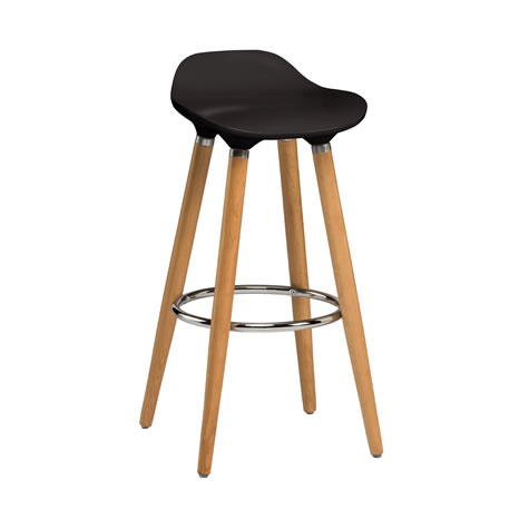 Blasene Black Modern Kitchen Bar Stool Height Fixed Height Beech Legs