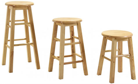 Zapon Wooden bar kitchen stool fixed height various sizes