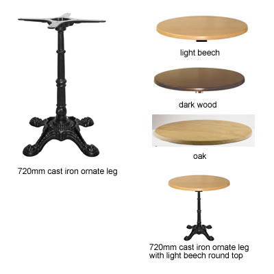 Isop kitchen dining table black cast iron ornate leg frame with round table top