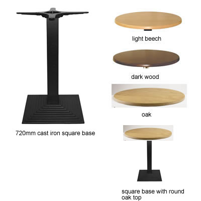Isop kitchen dining table black cast iron frame square base with round table top