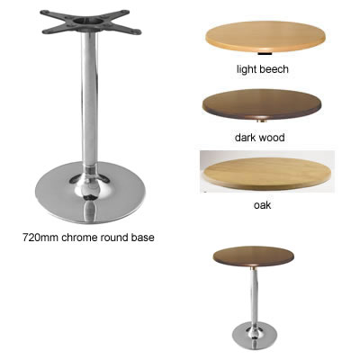 Isano kitchen dining table chrome frame round base with round table top