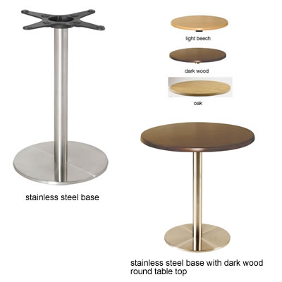 Matos kitchen dining table stainless steel frame round base with round table top