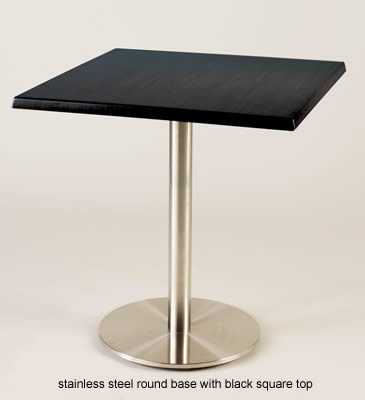 Staylos kitchen dining table brushed stainless steel frame round base with square table top