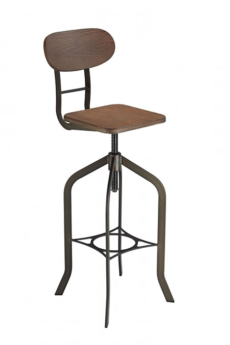 Fipony Rustic Industrial Style Swivel and Height Adjustable Kitchen Breakfast Bar Stool