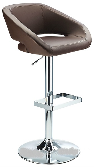 Active Modern kitchen bar stool with brown padded seat adjustable height and unique chrome footrest