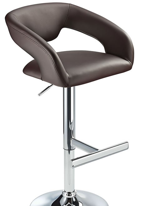 Mesoni Kitchen Breakfast Bar Stool T Bar Footrest Brown Padded Seat Height Adjustable