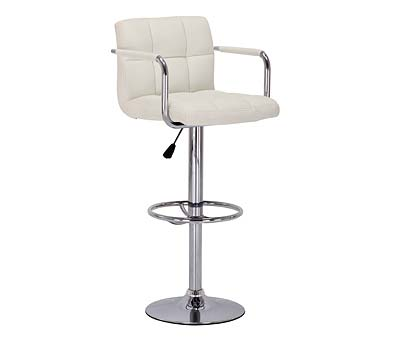 Primasy Cream Height Adjustable Kitchen Bar Chair Stool Padded Seat with Arms