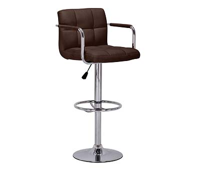 Primasy Brown Height Adjustable Kitchen Bar Chair Stool Padded Seat with Arms
