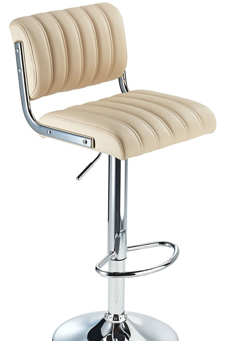 Horlsomy Cream Retro Bar Stool with Adjustable Height Soft Padded Seat Back Rest