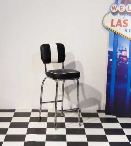 Prime 50's Style Retro Tall Black and White Kitchen Breakfast Bar Stool Chair Chrome Frame