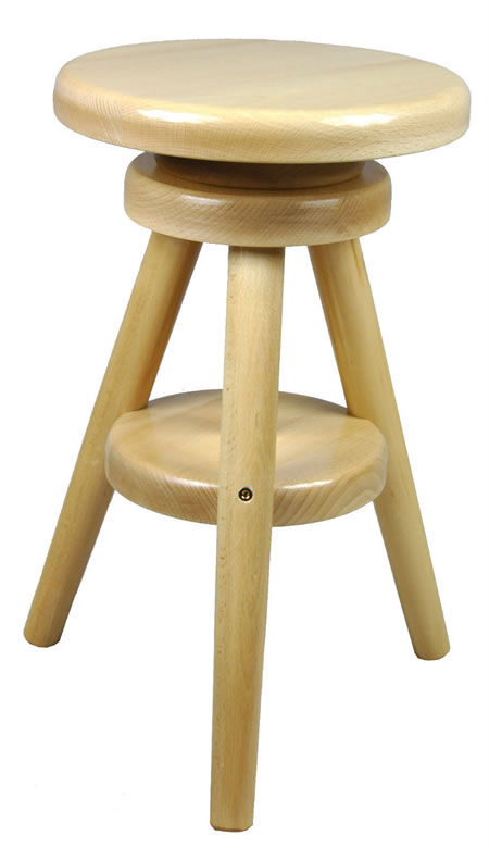 Adjustable Bar Stool Oak Wood Laquer Finish
