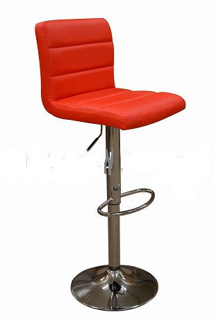 Ocean Red Kitchen Bar Stool - Padded Seat and Back Height Adjustable