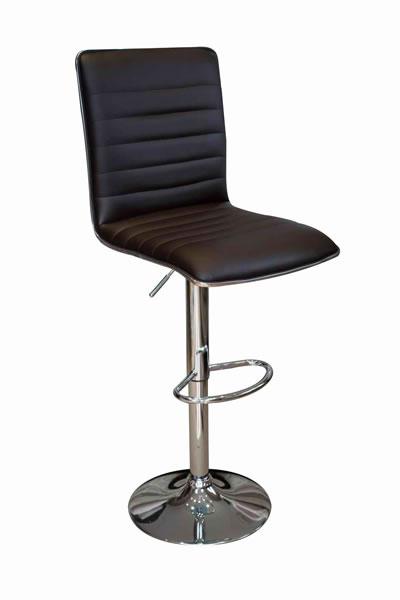 Crispi Kitchen Breakfast Bar Stool Black Padded Seat and Back Silver Trim Height Adjustable