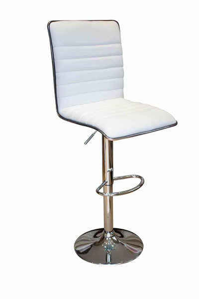 Crispi Kitchen Breakfast Bar Stool White Padded Seat and Back Silver Trim Height Adjustable