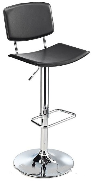 Traditional Padua kitchen bar stool with black faux leather seat and adjustable height