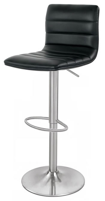 Aydon Brushed Steel Kitchen Bar Stool Adjustable Padded Seat