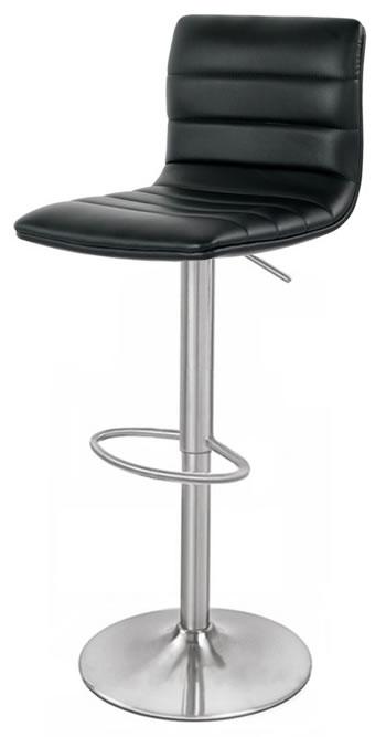 Aydon Brushed Steel Kitchen Bar Stool Adjustable Padded Seat