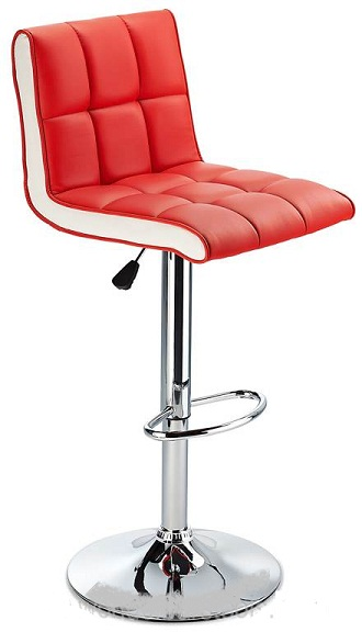Molto Adjustable Height Bar Stool - with red faux leather seat and contrasting white side panels