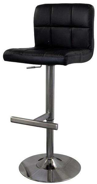 Bartok Adjustable Brushed Chrome Finish Bar Stool with swivel seat