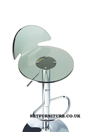 Lauter Acrylic Bar Stool with clear swivel seat and adjustable height