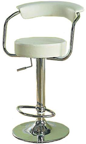 Zapnis White Stylish Kitchen Bar Stool Padded Back Height Adjustable Seat