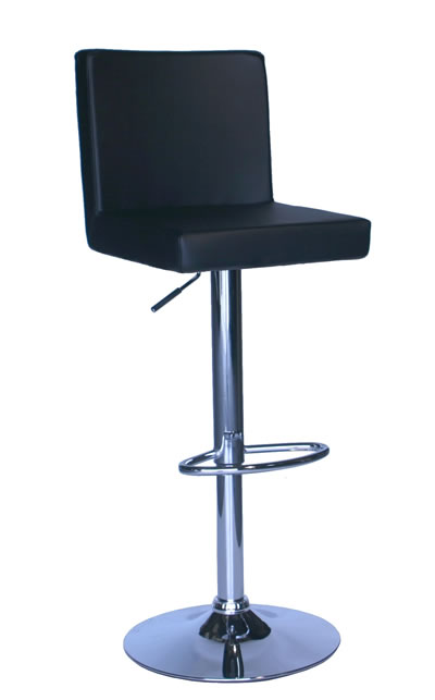 Alosbi Brushed Kitchen Breakfast Bar Stool Black Padded Seat