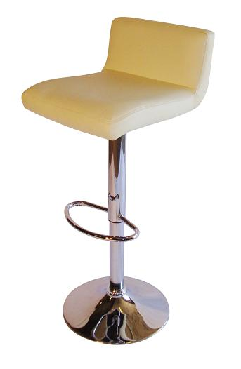 Tenor Kitchen Breakfast Bar Stool Padded Cream Seat Low Back Height Adjustable