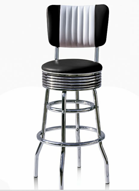 Oralndo Diner Retro American Style Kitchen Bar Stool - Back Rest
