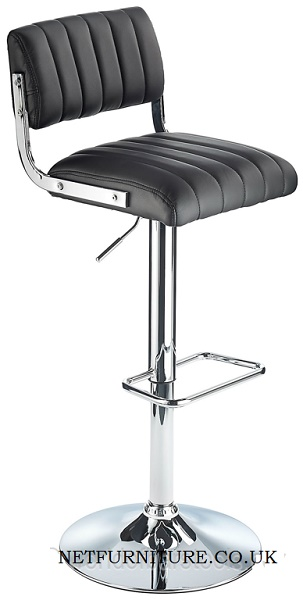 Harlem Retro Kitchen Stool With Black Padded Seat Adjustable Height Back Rest