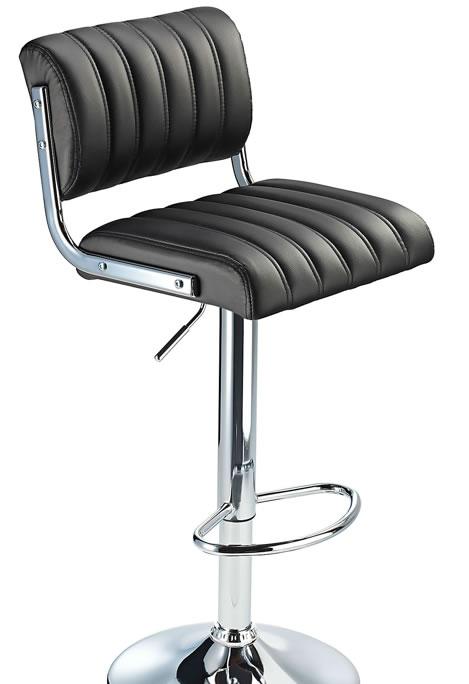 Harlsom Black Retro Bar Stool with Adjustable Height Soft Padded Seat Back Rest
