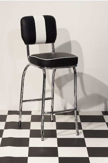 Carsony 50's Style Kitchen Retro Stool Tall Black and White Padded Seat Chair