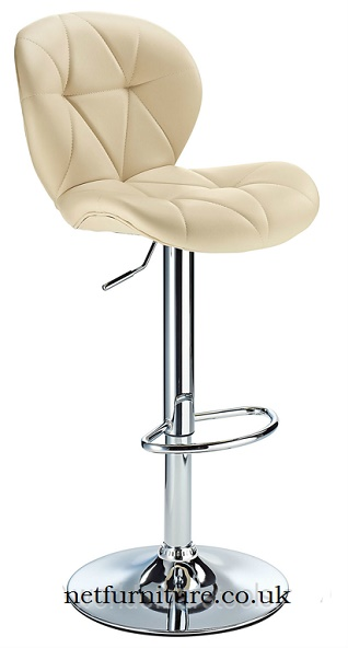 Tartano Height Adjustable Bar Stool with white padded seat