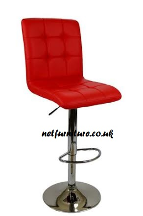 Charlize Bar Stool - Chrome and Faux Leather in Choice of Colours - Swivel and Adjustable