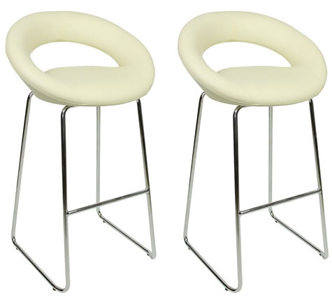 Pair Soronsoni Chrome and Padded Kitchen Breakfast Bar Stools Fixed Height Various   Colours