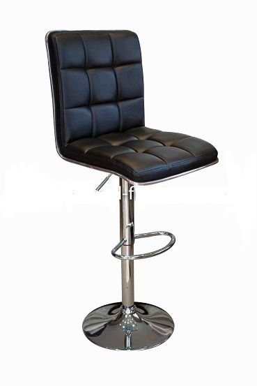 Penguin Kitchen Breakfast Bar Stool Black Padded Seat and Back Height Adjustable