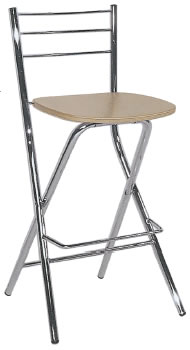 bahron folding breakfast bar kitchen stool chrome frame wood seat