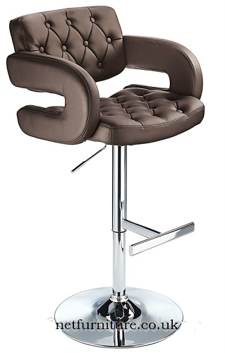 Nairn Height Adjustable Bar Stool with Brown Padded Swivel Seat