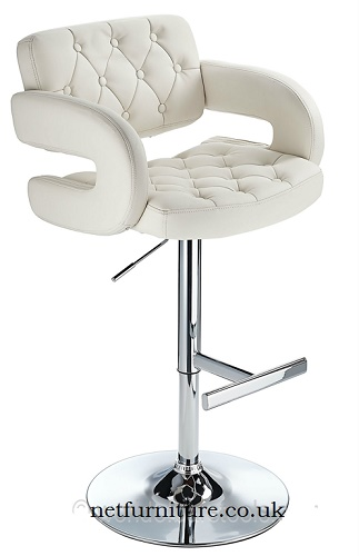 Nairn Height Adjustable Bar Stool with White Padded Swivel Seat